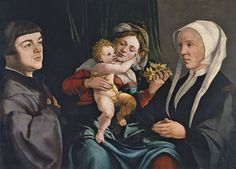 Jan van Scorel | Madonna of the Daffodils with the Christ Child and Donors, ca.1535 (?), oil on panel, 55.5×76.2cm, Museo Thyssen-Bornemisza, Madrid. | Jan van Scorel was an important Netherlandish painter and one of the artists to introduce the Italian Renaissance into the Low Countries. He travelled to Rome, summoned by Alexander VI, and also to Venice, he was trained with Jacob Cornelisz. van Oostsanen and possibly also with Jan Gossaert.