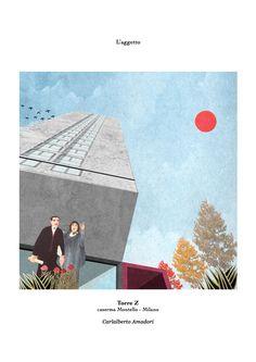 The collage n°2  L'aggetto.  Torre Z, caserma Montello Milano  Carlalberto Amadori