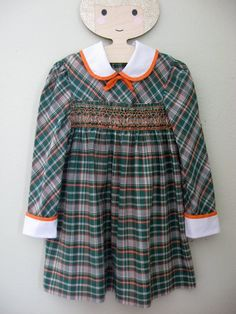 f2faa3574e6a Polly Flinders 60s 70s Vintage Girls Smocked Plaid Dress sz 6 Green Orange  Bow Smocking School Peter Pan Collar 1970s 1960s
