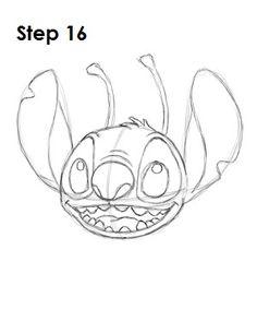 How to draw Stitch - Step 16 Disney Drawings Sketches, Easy Disney Drawings, Cartoon Sketches, Easy Drawings, Drawing Sketches, Drawing Ideas, Lilo And Stitch Drawings, Lilo Und Stitch, Directed Drawing