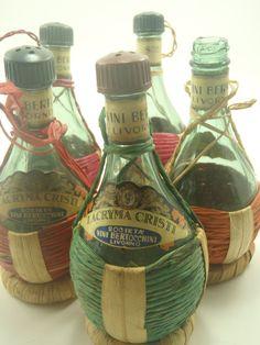 chianti bottles | Mini Chianti Straw Bottles Lot of 5 Miniature by VeesVintage