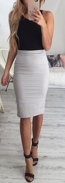 Black Top + Light Grey Pencil Skirt                                                                             Source