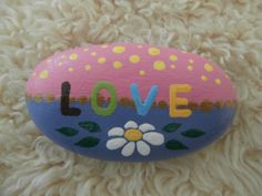 Painted rock 'LOVE' by PlaceForYou on Etsy