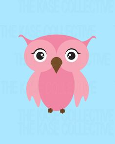 Modern Pink Blue Owl Nursery Art For Children by TheKaseCollective