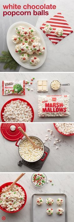 Get your holiday party poppin' with these simple, salty sweets. Melt butter, marshmallows and baking chips together until smooth. Pour over popcorn in a large (heatproof) bowl. Stir until it's coated, then add M&M'S candies. Form the mix into balls Holiday Snacks, Christmas Snacks, Christmas Cooking, Christmas Goodies, Christmas Candy, Holiday Fun, Holiday Recipes, Christmas Time, Christmas Recipes