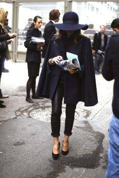 #fall #fashion #streetstyle #style #inspiration #cape #hat #heels #black