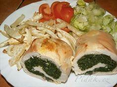 Show details for Recept - Kuřecí špenátová roláda s celerovými hranolky - dietní