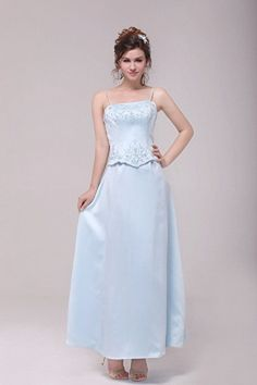 Modesty Spaghetti Straps Column Ankle Length Baby Blue Bridesmaid Dresses For Junior With Embroidery Cheap Graduation Dresses, Cheap Prom Dresses, Junior Dresses, Blue Dresses, Formal Dresses, Tiffany Blue Bridesmaid Dresses, Satin Bleu, Silhouette, Gowns