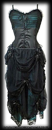 Green Satin & Black Net Gothic Fairytale Dress