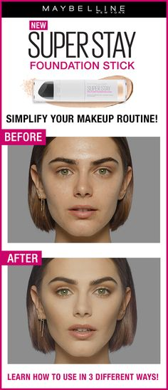 Cover, conceal and touch-up with our new Maybelline Super Stay Multi-Use Foundation Stick! See the before and after image for the all-over full face look. Show us how you wear our Super Stay Foundation Stick! Click through to find your shade at ULTA Beauty. All 16 shades are available in-store and online!