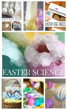 Fun Easter science and STEM activities for kids. Science experiments for preschool, kindergarten, and grade school age kids that include gravity, chemical reactions, and slime!