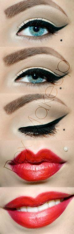 Pinup Beauty: Perfectly Pin Up Makeup!:: Wing tips and Red Lips:: Retro Makeup:: Vintage Makeup Inspiration:: Wing tipped eyeliner Pin Up Makeup, Makeup Tips, Beauty Makeup, Makeup Ideas, 60s Makeup, Crazy Makeup, Makeup Art, Flapper Makeup, Rock Makeup