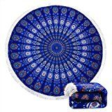 $16.98--Indian Mandala Microfiber Large Round Beach Blanket with Tassels Ultra Soft Super Water Absorbent Multi-Purpose Towel 59 inch across (NO.2)