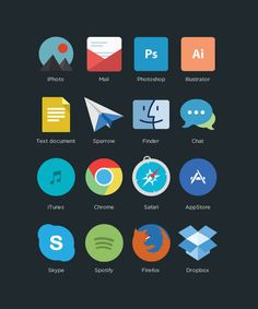 Flat Icon Design. Do you like flat icons and graphics? Then look at this beautiful set of flat program icons designed by Applove. The icons are available f