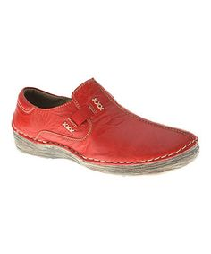 dc2aa83fc0bb Red Coed Leather Slip-On Sneaker Leather Slip Ons