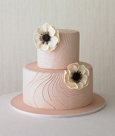 Tiered wedding cake decorated with flowers. Two realistic-looking, sugar anenomes grace a simple pink cake with a grooved silhouette. - The Cake Girls Fancy Cakes, Cute Cakes, Pretty Cakes, Gorgeous Cakes, Amazing Cakes, Wedding Cake Designs, Wedding Cakes, Wedding Menu, Wedding Ideas