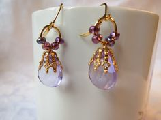 Earrings Dangle Lavender  Faceted Briolettes by QualityNotQuantity, $3.99