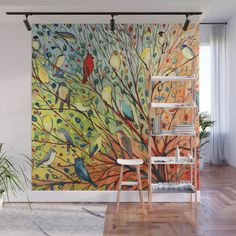 If you've been longing to make a statement in your home, you will be pleased to know that there are loads of gorgeous wall mural ideas to choose from....   Some Feathered Friends #WallMurals #WallDecor #Murals #WallMuralIdeas #WallMural #Mural Ceiling Design, Fabric Panels, Wall Murals, Decor Styles, Modern Art, Vibrant Colors, Wall Decor, Birds, Black And White