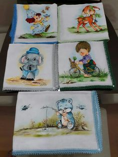 PANINHOS E FRALDINHA facebook Lucia Costa Siqueira. Nursery Paintings, Nursery Art, Painting Patterns, Fabric Painting, Henna Candles, Textiles, Quilling, Diy And Crafts, Minnie Mouse