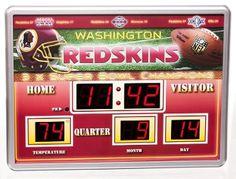 Washington Redskins Scoreboard Digital Wall Clock w/ Date & Temp. Order From ... bjsportstore.com