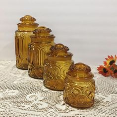 Amber Canister Set  L E Smith Moon and Star Canisters  Set