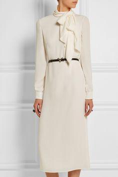 Valentino|Pussy-bow silk-georgette midi dress|NET-A-PORTER.COM