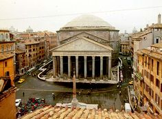 """Rome, Pantheon. Meaning """"to every god"""" - so may my God be glorified by this marvellous structure! Now, two thousand years after it was built, the dome is still the world's largest unreinforced concrete dome. (It is a perfect semi-sphere, 43m in diameter, this is also the measurement of the distance from the floor to the top of the dome! Initially a Roman temple, and in 609, Pope Boniface IV converted it into a Christian church. Visited with Kobus in 1999"""