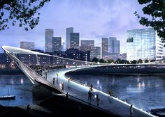 74 designs unveiled for the Nine Elms to Pimlico bridge. International contest.