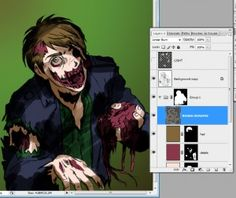 Here's a Photoshop tutorial that I made earlier. How to colour a Zombie Style Anime Portrait – Part 1 http://animeportraits.com/anime-art-tutorials-and-tips/how-to-make-a-zombie-style-anime-portrait/
