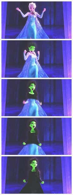Elsa changing to Elphaba