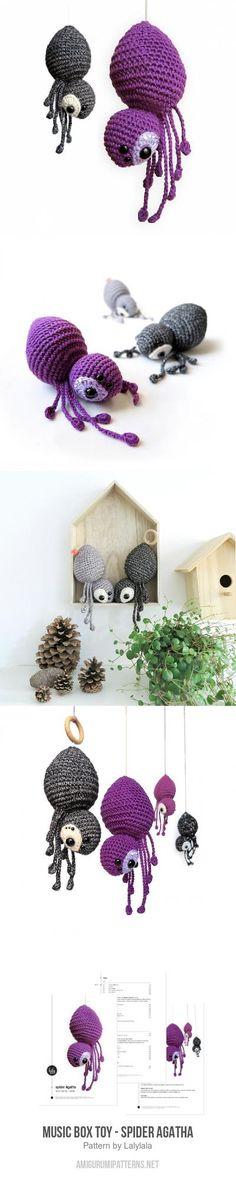 music box toy - spider AGATHA amigurumi pattern