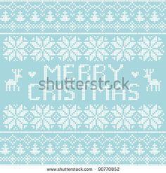 Christmas nordic pattern, vector - stock vector