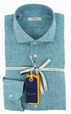 Delsiena 2537 30 Linen Shirt Green - £75 with FREE UK Delivery #Linen #Mens #Fashion #Delsiena #Summer