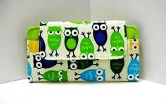 Owl Smart Phone Wallet Clutch Blue and Sage Green