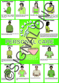 Personal Care Signs Poster - BSL (British Sign Language) Tap the link to check out fidgets and sensory toys! Simple Sign Language, Sign Language For Kids, Sign Language Phrases, Sign Language Alphabet, British Sign Language, Learn Sign Language, Deaf Language, Sign Language Interpreter, Language Lessons