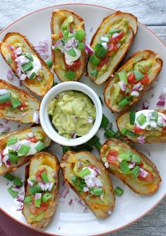 Guacamole Stuffed Potato Skins ~ Crispy potato skins topped with ...