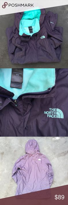 Northface rain jacket Gray/purple Northface jacket with teal accents, gently worn but still in perfect condition with no flaws. Size women's medium. North Face Jackets & Coats