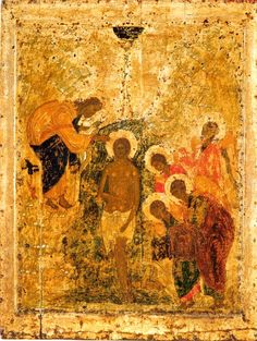 Baptism of Jesus, 1405 (Cathedral of the Annunciation, Moscow) by Andrei Rublev Andrei Rublev, Baptism Of Christ, Black Hebrew Israelites, St Clare's, Tribe Of Judah, Religious Icons, Orthodox Icons, Native Indian, Sacred Art
