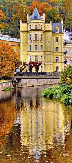 The Pavlov Hotel on the Tepla River in Karlovy Vary, Bohemia, Czech Republic • photo: Santi RF on Flickr