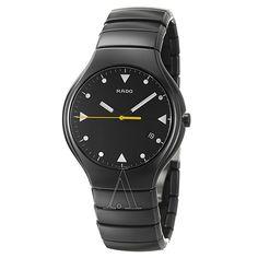 5412889caf0ae Shop for Rado Men's 'Rado True' Push-Button Black Ceramic Swiss Quartz  Watch. Get free delivery at Overstock - Your Online Watches Store!