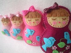 The Cutest-We Love Birds-Sleeping Beauty-Felt Matryoshka Doll-Family Set of 4