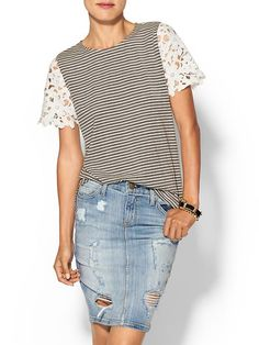 Sunday In Brooklyn Stripe/Lace Tee, love the longer lace sleeves with the stripes
