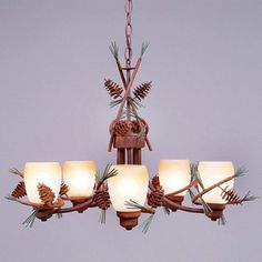 Avalanche Ranch Light Company A41020ET 04 5 Sienna Cone Chandelier Pine
