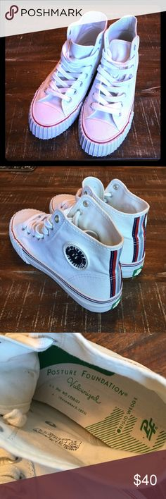 """PF FLYERS OMG!! Look at THESE!! A """"new"""" pair of WHITE PF FLYERS!! STUNNING and very much """"in style""""!! Maybe worn once, as u can see on tread in last pic. These are authentic as shown in pics. Price is FIRM!! Please ask ALL questions b4 purchase as ALL sales are final, AS IS/NO HOLDS OR TRADES! PF Flyers Shoes Sneakers"""