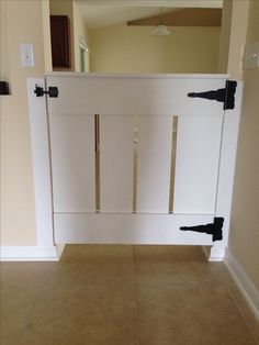 Homemade wood baby gate (or a dog gate). Wood Baby Gate, Baby Gates, Dog Gates, Child Gates, Kids Gate, Stair Gate, Half Doors, Pet Gate, Open Trap