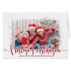 """Kerstkaarten Met Foto En Moderne Typography. Deze hippe en trendy kerstkaarten met eigen foto en moderne """"Prettige Kerstdagen"""" typography zijn eenvoudig te personaliseren."""