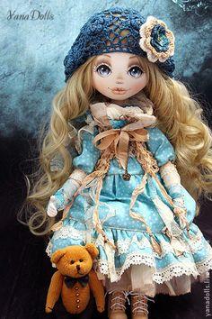 Купить Laura - тёмно-бирюзовый, кукла, кукла в подарок, кукла текстильная, кукла интерьерная