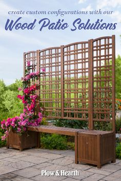 Enjoy freedom of design with our Outdoor Eucalyptus Configurable Privacy Screen Trellises, Planter/Seat and Bench. Any combination of these pieces looks good on your patio, porch, deck or balcony. Privacy Trellis, Privacy Planter, Deck Planters, Arbors Trellis, Wood Trellis, Privacy Screen Outdoor, Square Planters, Garden Trellis, Planter Boxes