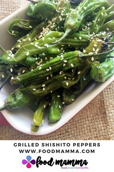 Shishito peppers are perfect as an appetizer and go great with a bbq. Seasoned simply with a couple ingredients, they are easy to make on the grill. Christmas Entertaining, Grill Master, Vegetable Dishes, Asparagus, Bbq Ideas, Grilling, Good Food, Appetizers, Vegetarian