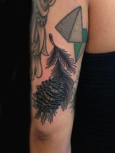 Black Ink Pine Cone Tattoo On Left Half Sleeve
